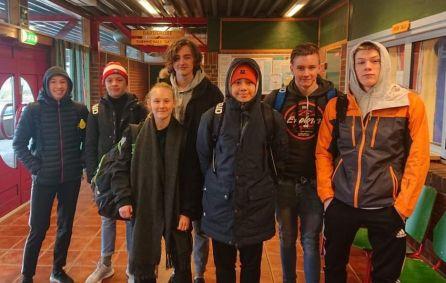Frå venstre: Nora Visnes, Tobias Emanuelsson Samuelsen, Lovise Kjøpstad Rimmereide, Lars Isdahl Føyen, Tønnes Valvik Tønnessen,Didrik Gudding og Odin Hildebrandt Paulin